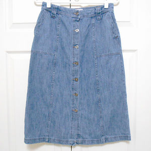 Denim Button Front Midi Skirt
